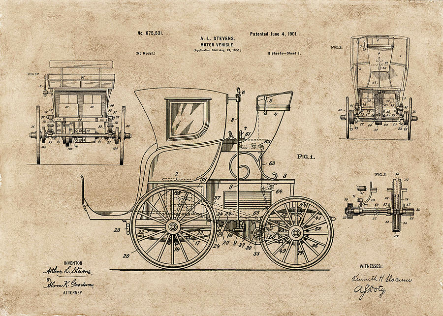 Motor Car 1901 Patent Drawing by Carlos Diaz