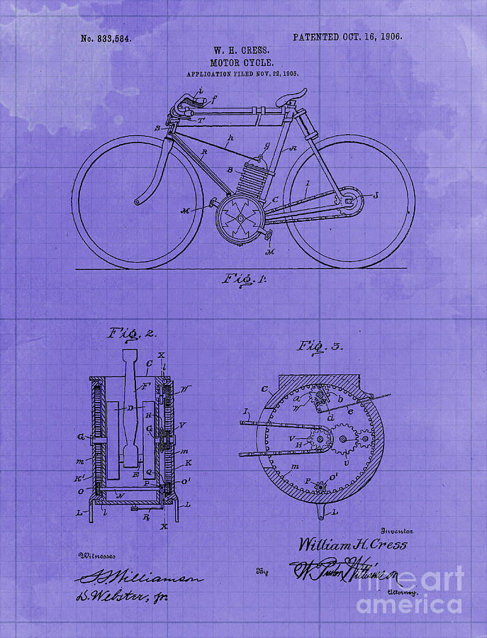 Motor Cycle Patent Year 1906  Old Artwork Motorcycle Drawing