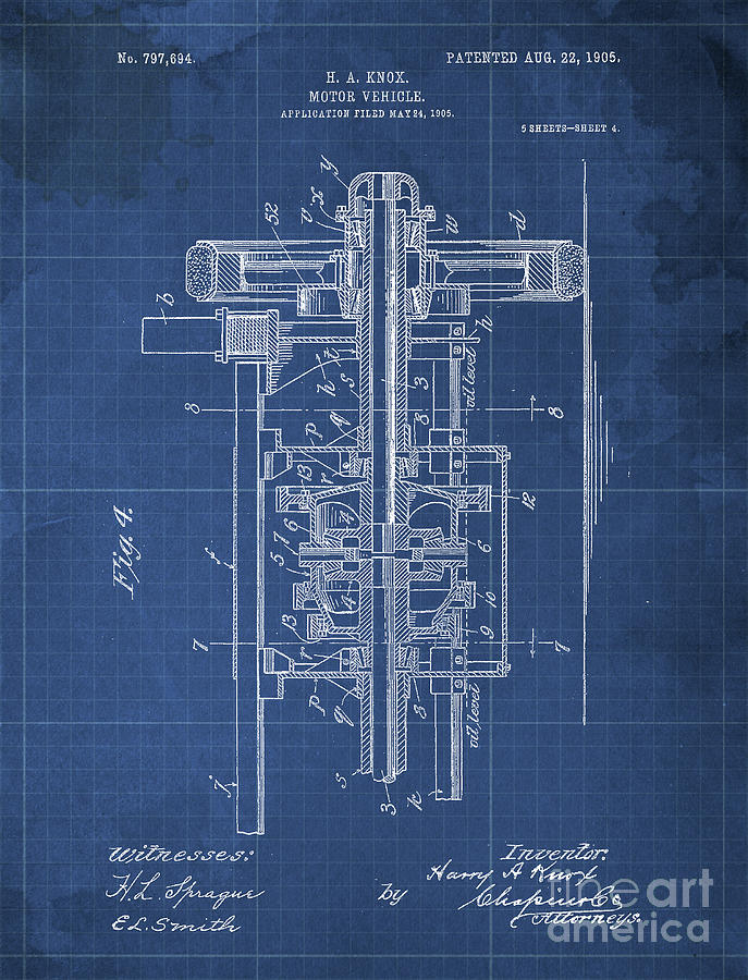 Blueprint Drawing - Motor Vehicle Patent 1905 Blueprint Blue Background by Drawspots Illustrations