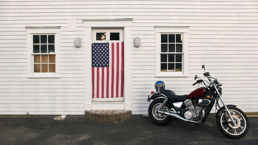 Motorcycle And American Flag Photograph by Constantin Falk