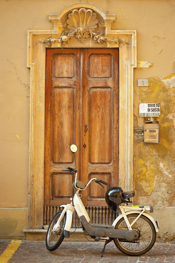 Motorcycle Parked In Front Of Wooden Photograph by Caracterdesign