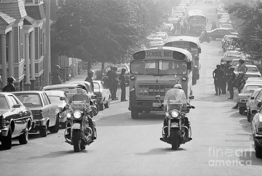 Motorcycle Police Escort School Bus Photograph by Bettmann