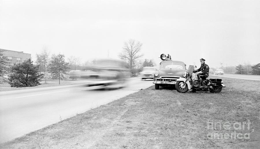 Motorcycle Police Officer Watching Photograph by Bettmann