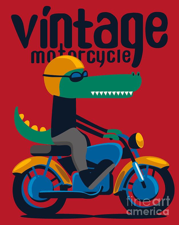 Alligator Digital Art - Motorcycle, Rider, Crocodile Vector by Braingraph