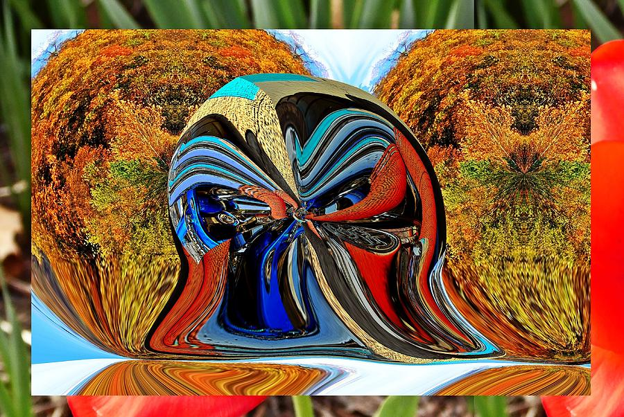Motorcycle tail pipes box little planet as art by Karl Rose
