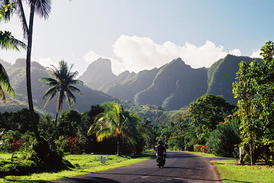 Motorcyclist On Polynesian Road Photograph by Ejs9