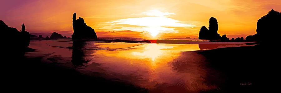 Motukiekie Beach Pano in Greymouth West Coast New Zealand by OLena Art by OLena Art Brand