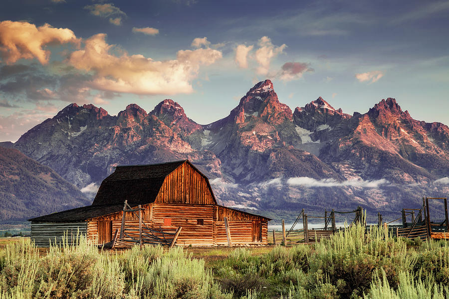 Moulton Barn And Tetons In Morning Light Photograph by Strickke