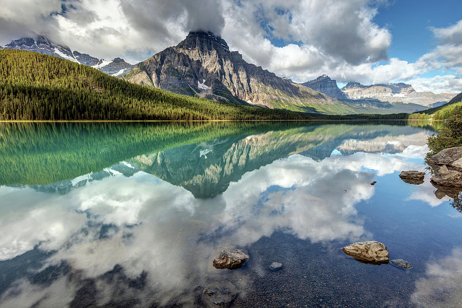 Mount Chephren in the clouds of the reflection of Waterfowl lake by Pierre Leclerc Photography