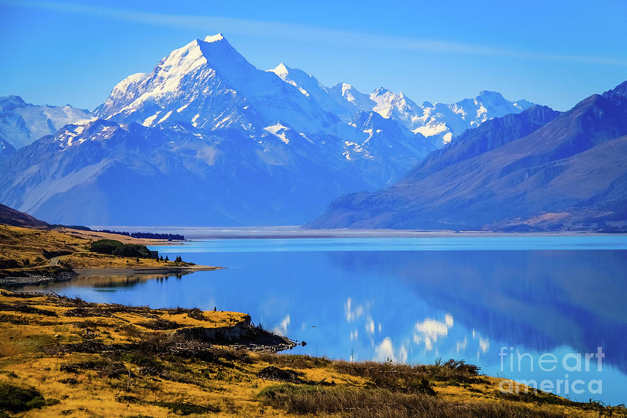Mount Cook overlooking Lake Pukaki, New Zealand Photograph by Lyl Dil Creations