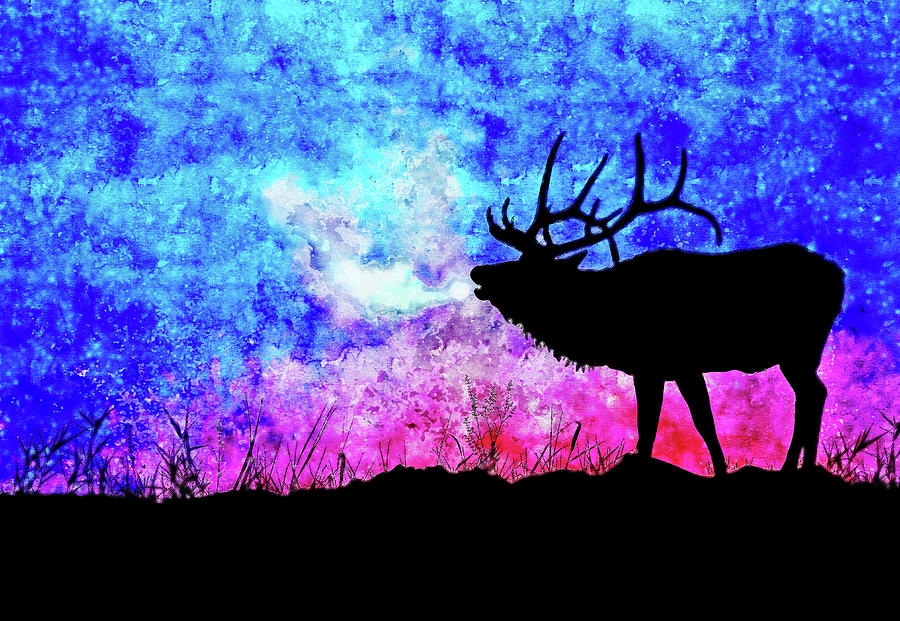 Mount deer watercolor drawing by Hasan Ahmed