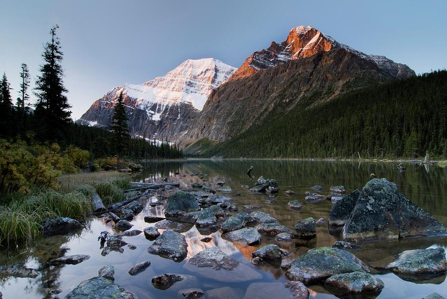 Mount Edith Cavell And Cavell Lake Photograph by Design Pics/philippe Widling
