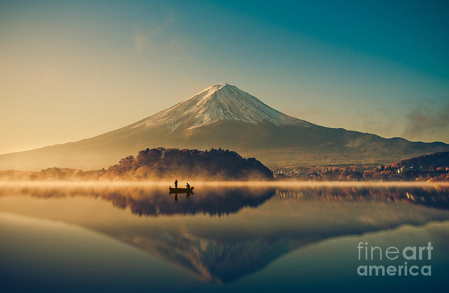Sunrise Photograph - Mount Fuji San At Lake Kawaguchiko In by Focusstocker
