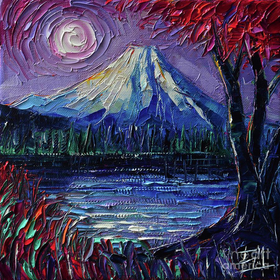 Mount Fuji Painting - Mount Fuji - Textural Impressionist Palette Knife Impasto Oil Painting Mona Edulesco by Mona Edulesco