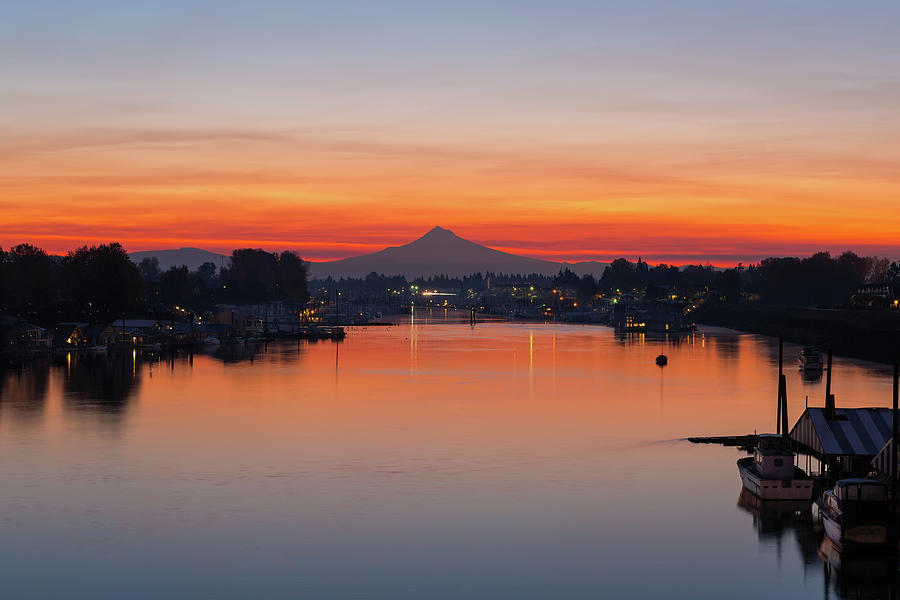 Mount Photograph - Mount Hood over Columbia River at Dawn by David Gn