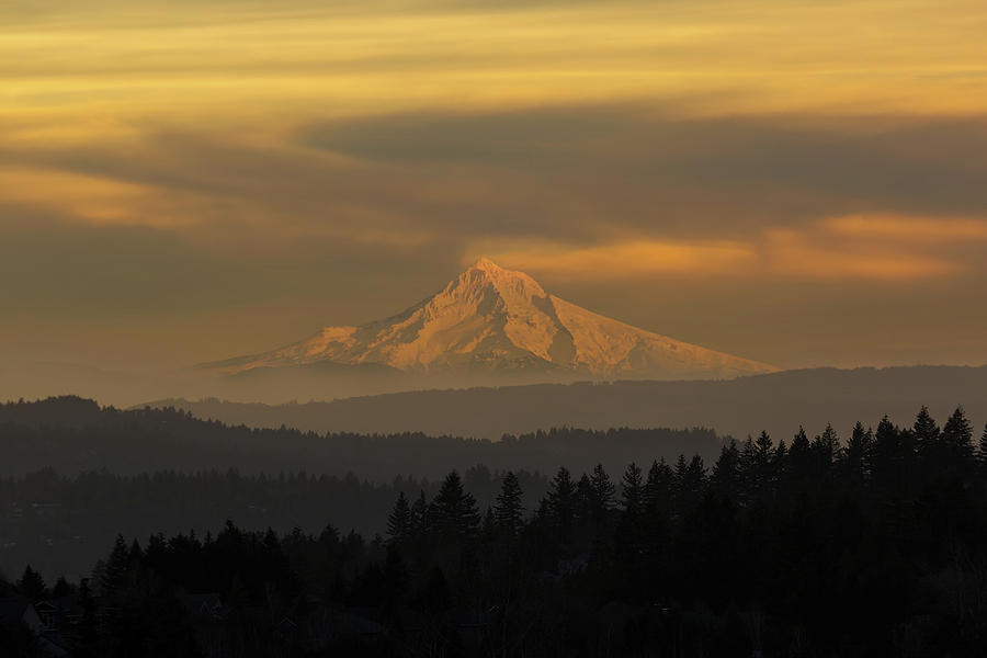 Mount Photograph - Mount Hood View during Hazy Sunset by David Gn
