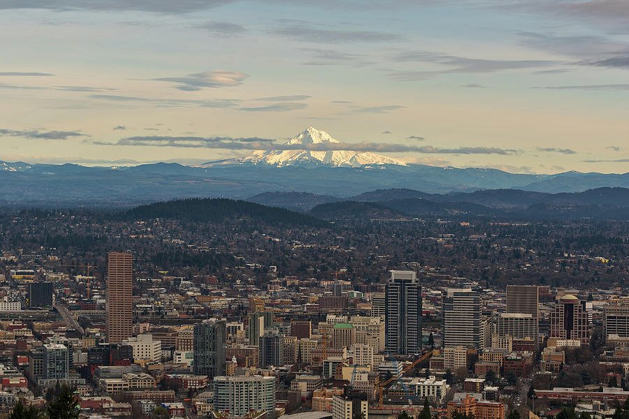 Mount Photograph - Mount Hood View Over Portland Cityscape by David Gn
