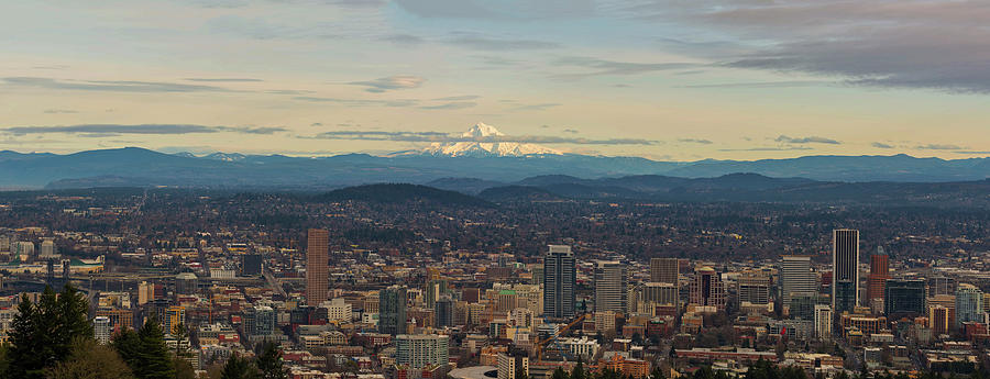Mount Photograph - Mount Hood View Over Portland Cityscape Panorama by David Gn