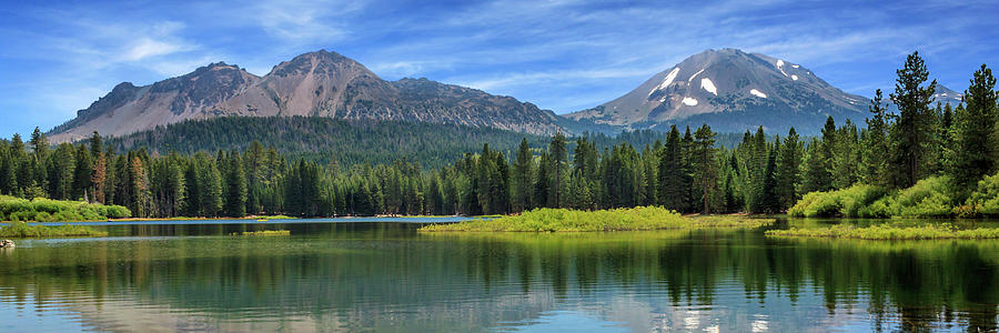Mount Lassen And Manzanita Lake Panorama by James Eddy