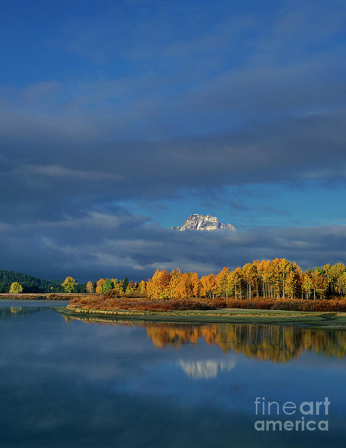 mount moran in clouds oxbow bend grand tetons np wyoming by Dave Welling