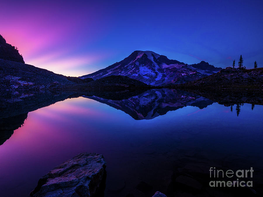Rainier Photograph - Mount Rainier Dark Mood Reflection by Mike Reid