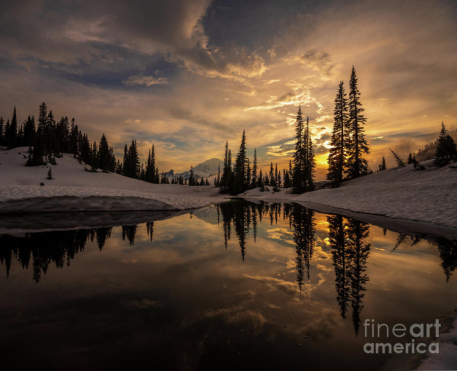 Lake Photograph - Mount Rainier  Dusk Skies Contemplation by Mike Reid