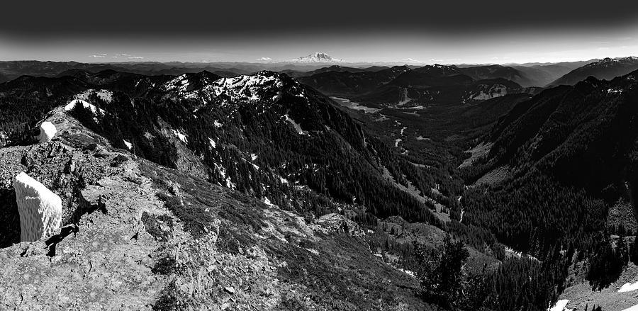 Mount Rainier from Alta Mountain Black and White 3 by Pelo Blanco Photo