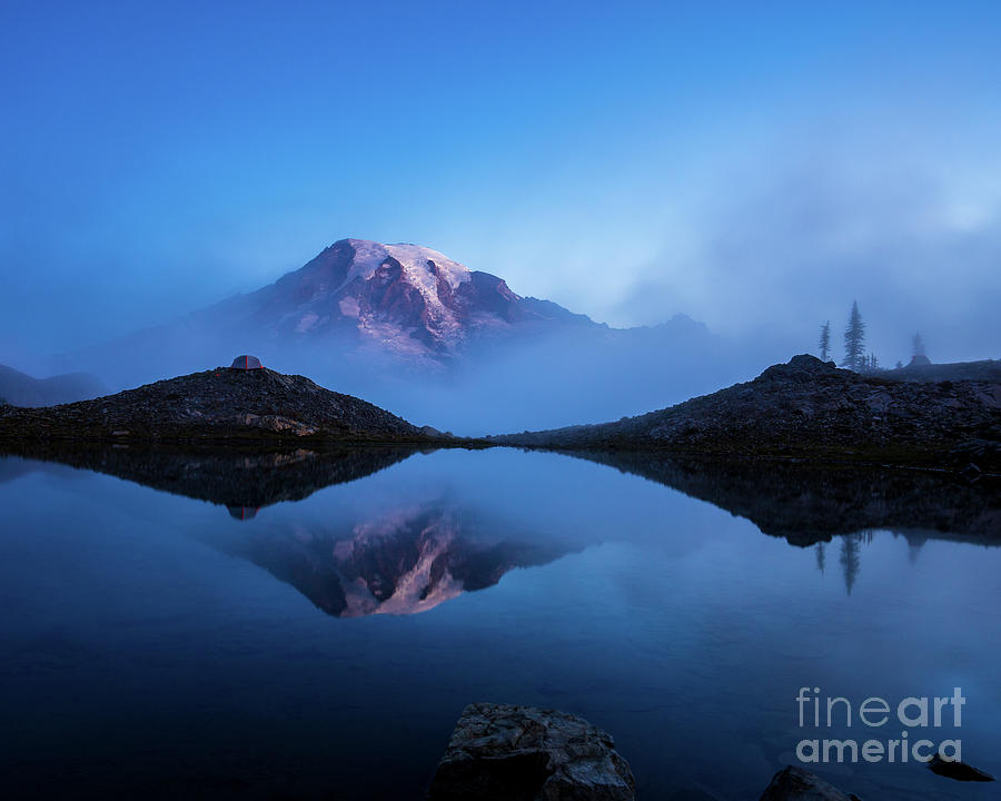 Rainier Photograph - Mount Rainier In The Mist by Mike Reid