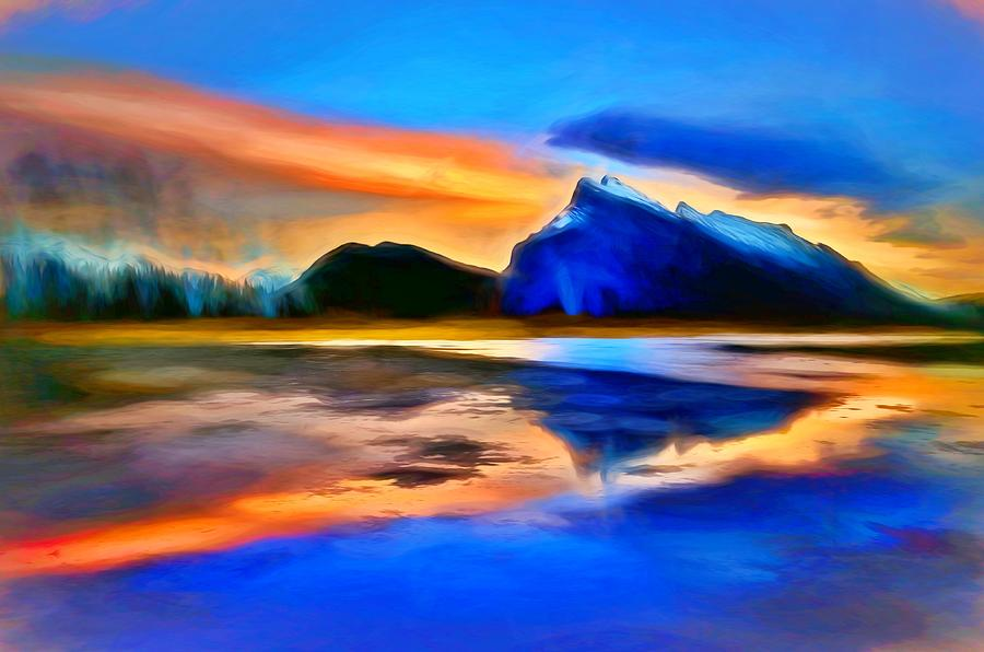 Blue Digital Art - Mount Rundle  by Tara Turner