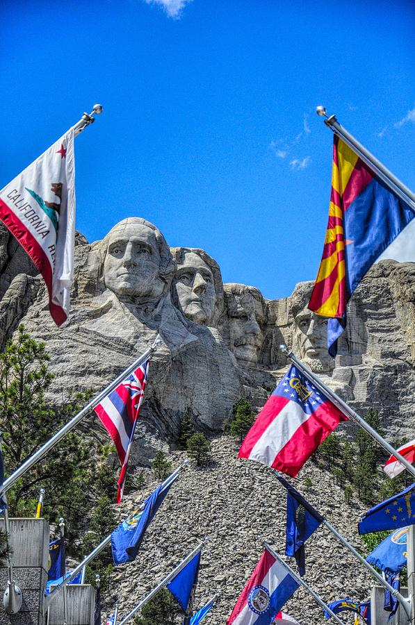 Mount Rushmore Avenue Of Flags Photograph