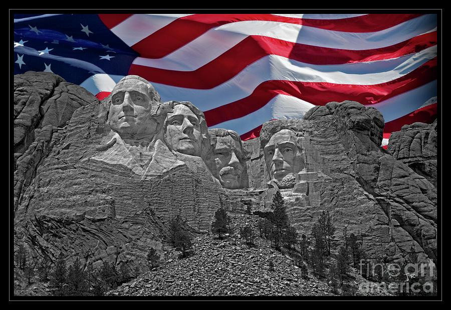 Iconic American Treasure Mount Rushmore Black Hills South Dakota American Flag  by John Stephens