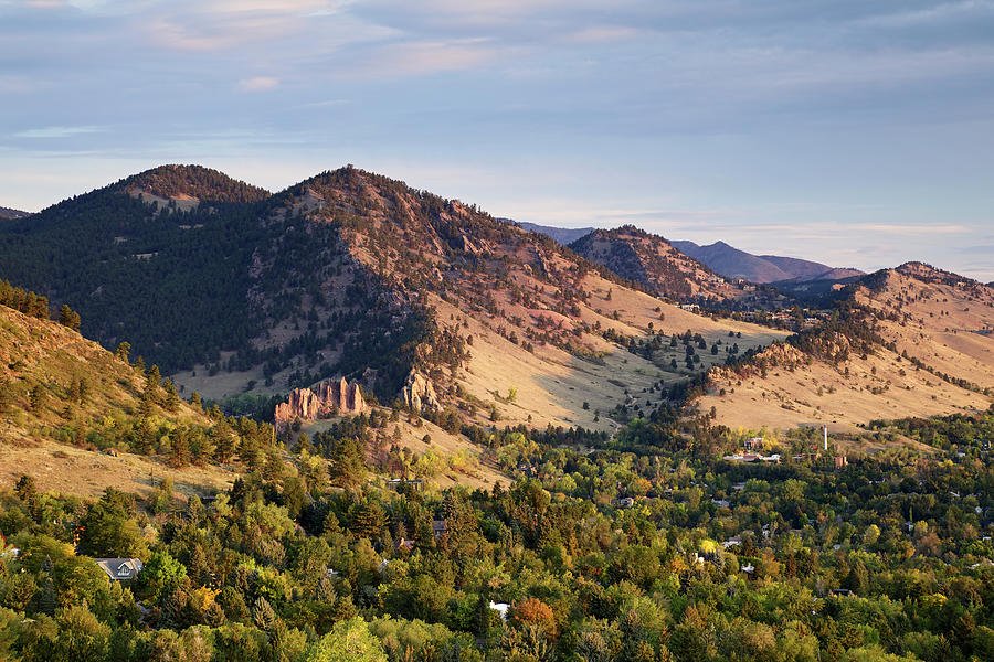 Scenic Photograph - Mount Sanitas And Fall Colors In by Beklaus
