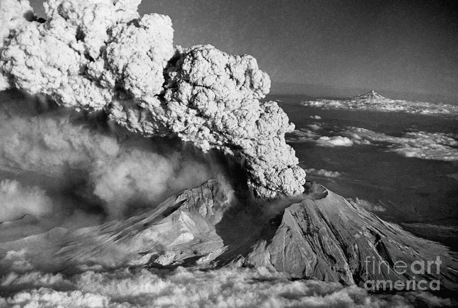 Mount St. Helens Eruption And Mount Hood Photograph by Bettmann