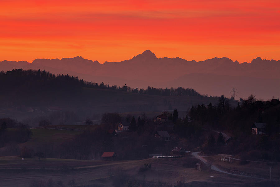 Mount Triglav and the Julian Alps at sunset by Ian Middleton