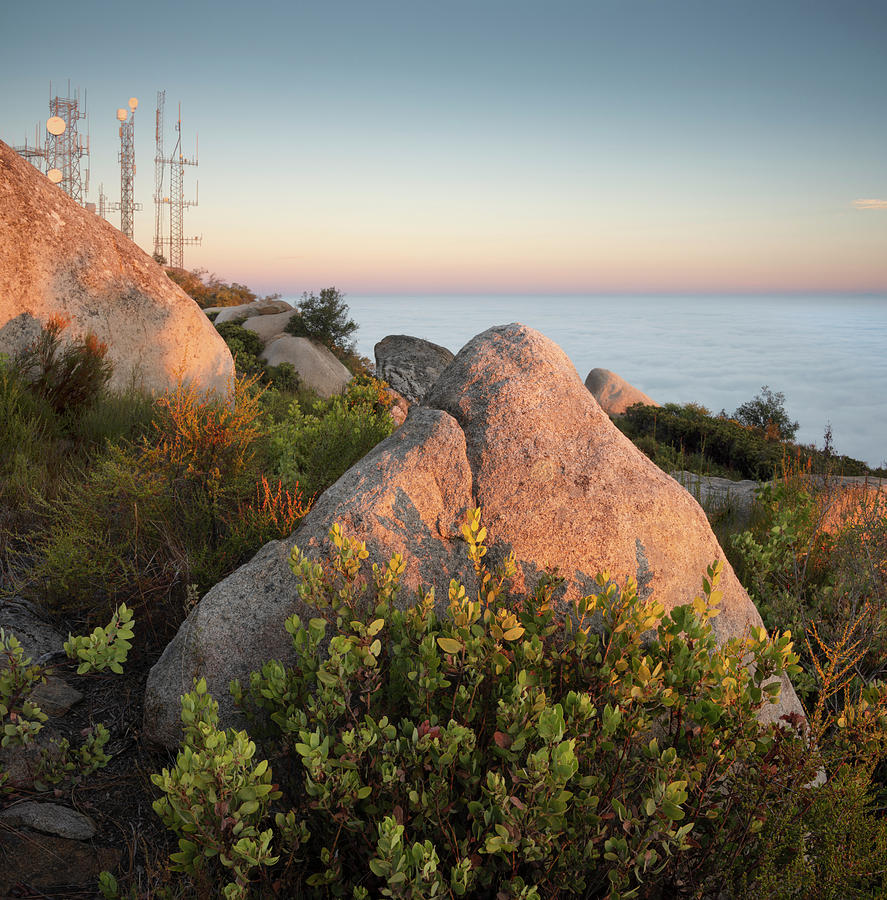 San Diego Photograph - Mount Woodson Rock An Clouds by William Dunigan