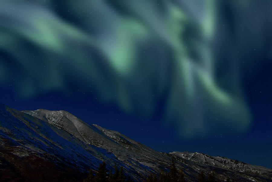 Mountain & Northern Lights Photograph by Mark Newman