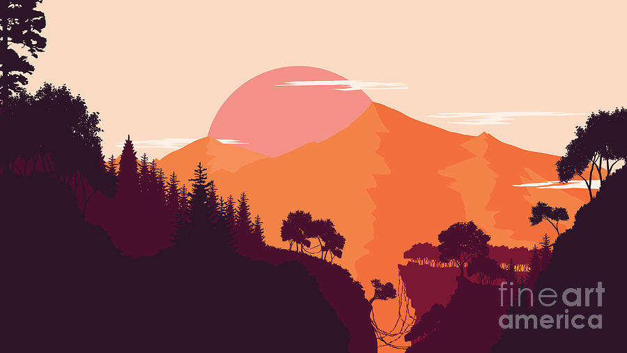 Flare Digital Art - Mountain And Forest Landscape In Day by Miomart
