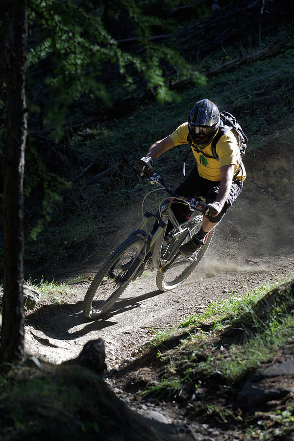 Mountain Biker On Dirt Path Photograph by Michael Truelove