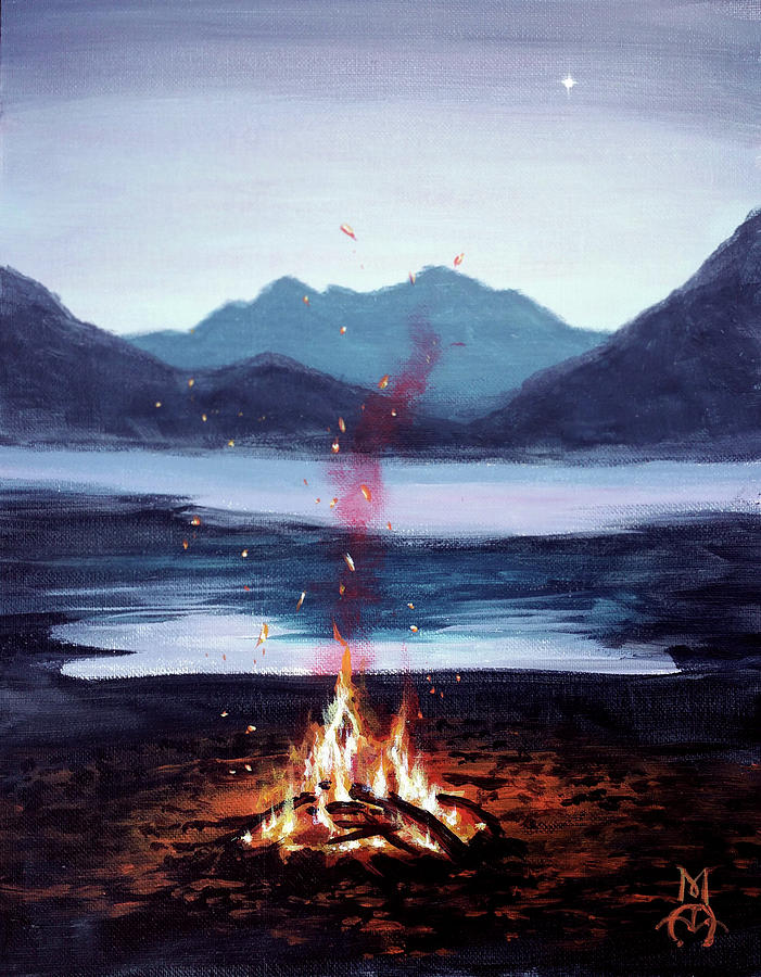 Mountain Campifire Painting