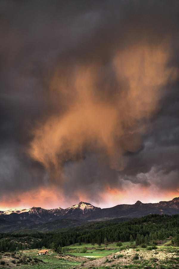 Clouds Photograph - Mountain Clouds at sunset by Mark Langford