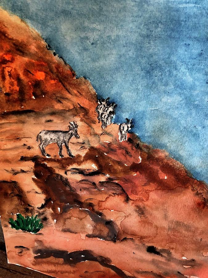 Mountain Goats in Valley of Fire by Lucille Valentino