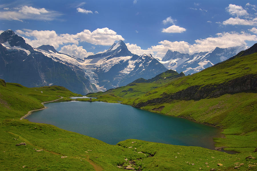 Mountain Lake And Swiss Alps In Photograph by Laura Ciapponi