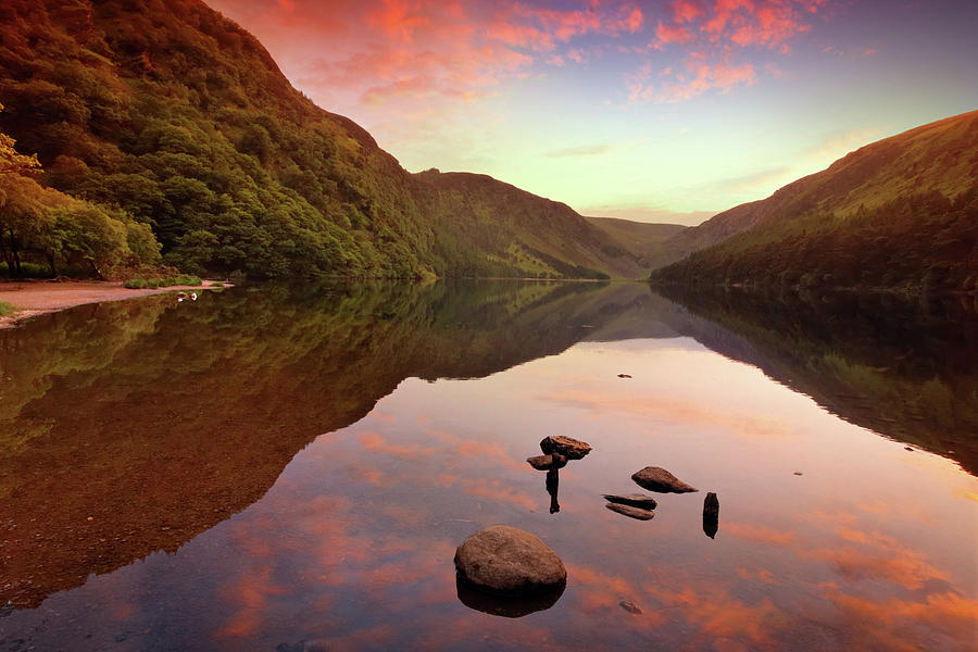 Dawn Photograph - Mountain Lake At Sunset by Mammuth