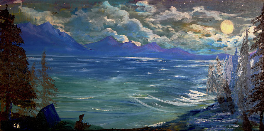 Mountain Lake Moon by Chance Kafka