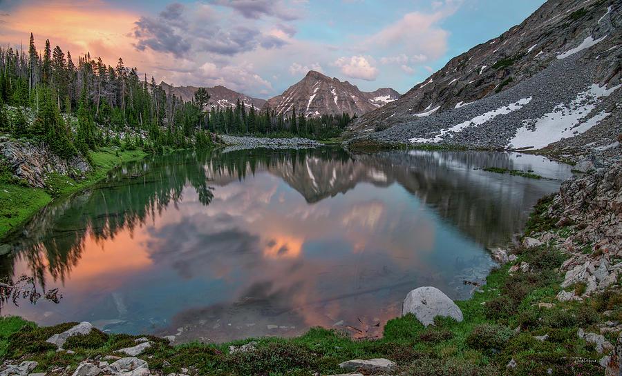 Altitude Photograph - Mountain Lake Sunset by Leland D Howard