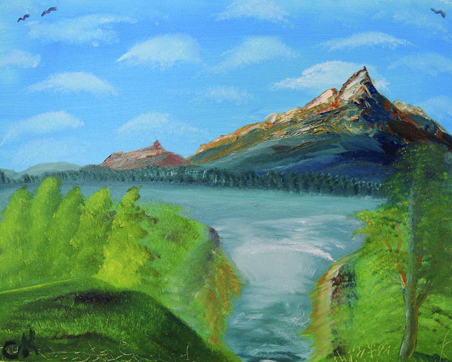 Mountain Painting - Mountain Lake Waterfall by Chance Kafka