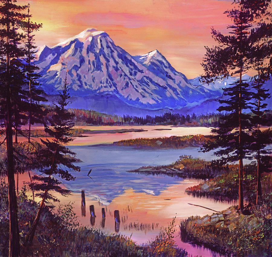 MOUNTAIN LAKESHORE AT FIRST LIGHT by David Lloyd Glover