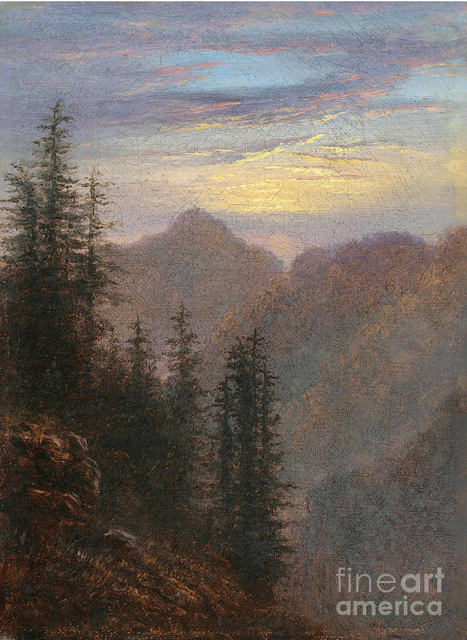 Mountain Landscape At Dusk Drawing by Heritage Images
