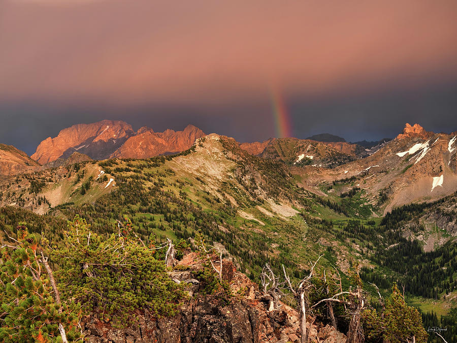Altitude Photograph - Mountain Light And Rainbow In The Tetons by Leland D Howard