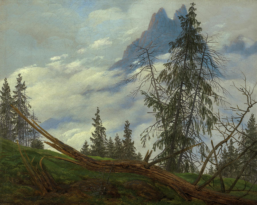 Caspar David Friedrich Painting - Mountain Peak With Drifting Clouds, 1835 by Caspar David Friedrich
